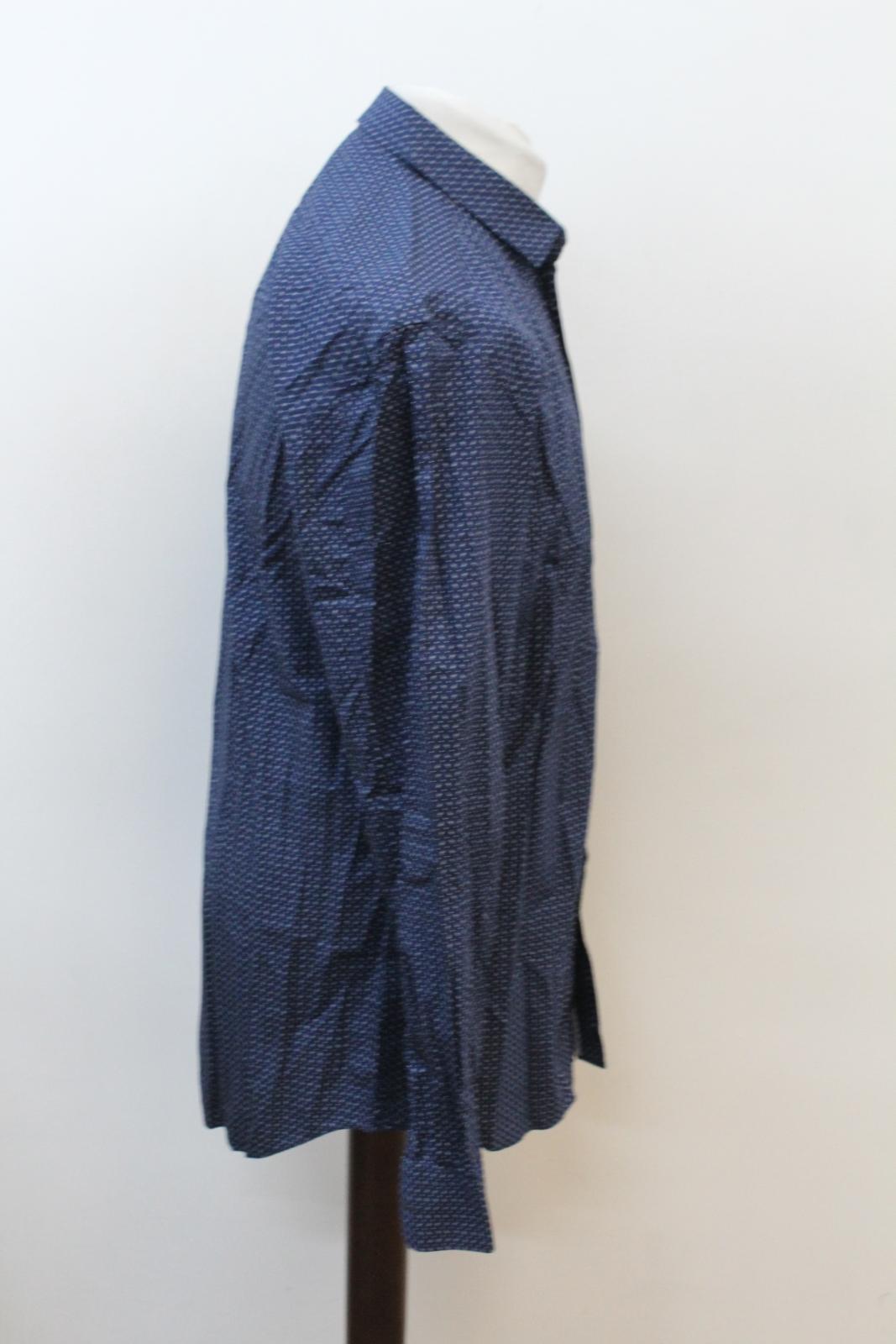 NEIL-BARRETT-Men-039-s-Navy-Blue-Paisley-Slim-Fit-Formal-Shirt-Collar-16-5-034-42cm miniatura 4