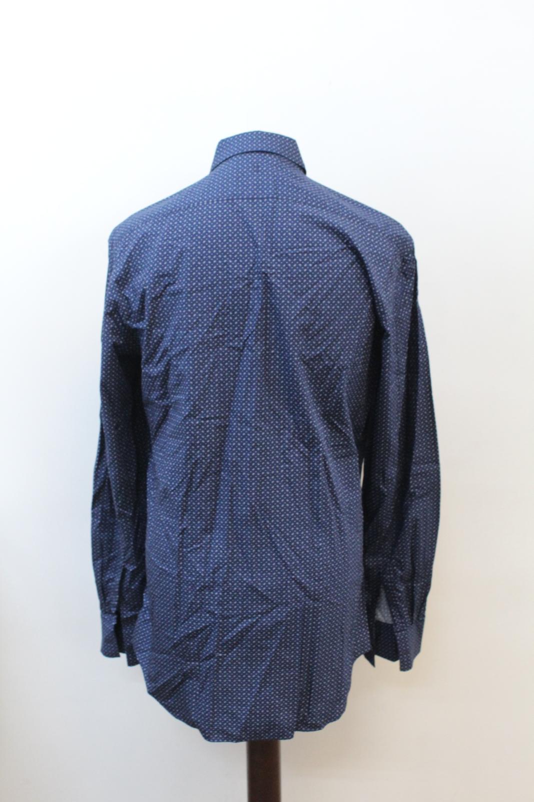 NEIL-BARRETT-Men-039-s-Navy-Blue-Paisley-Slim-Fit-Formal-Shirt-Collar-16-5-034-42cm miniatura 5