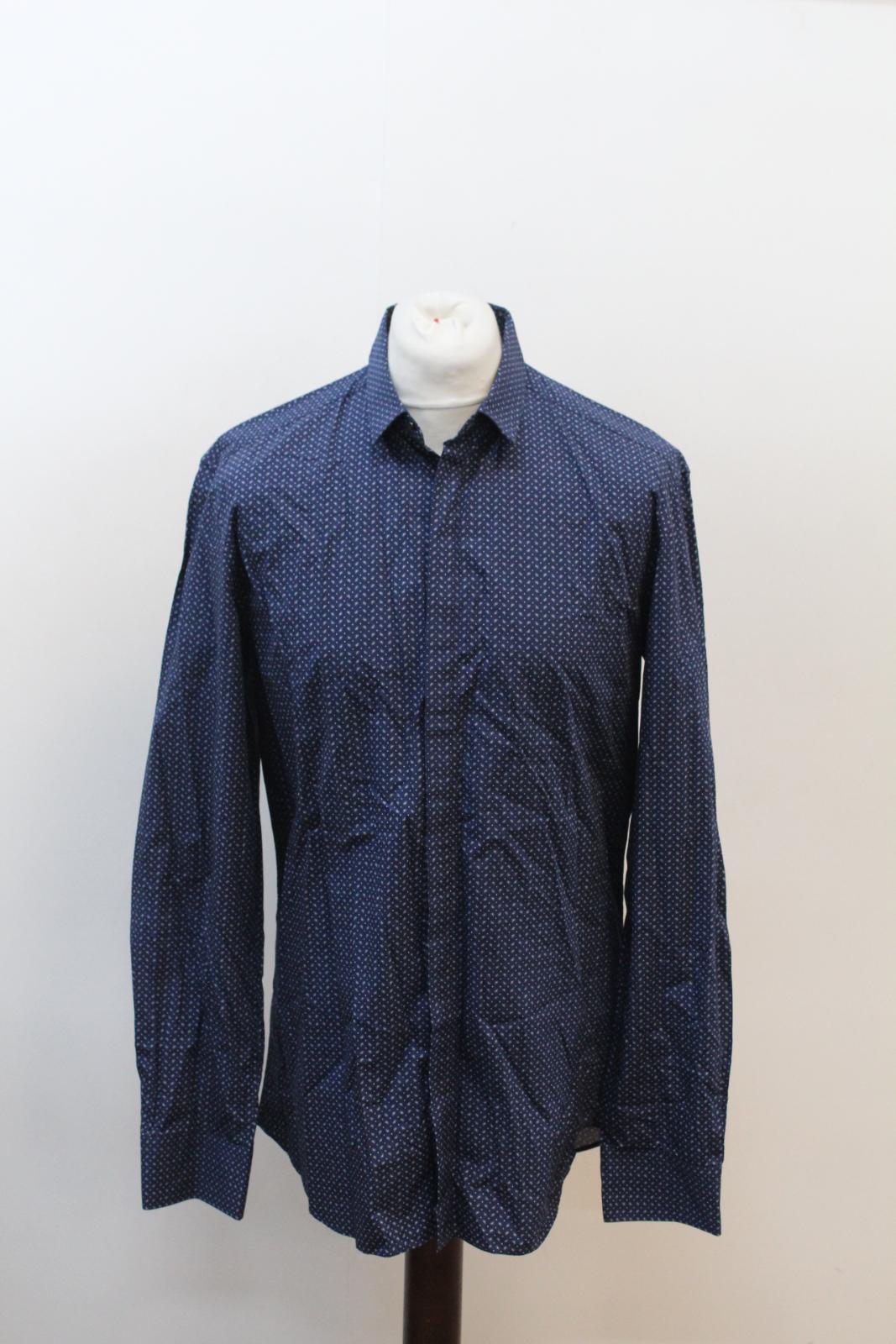 NEIL-BARRETT-Men-039-s-Navy-Blue-Paisley-Slim-Fit-Formal-Shirt-Collar-16-5-034-42cm miniatura 7