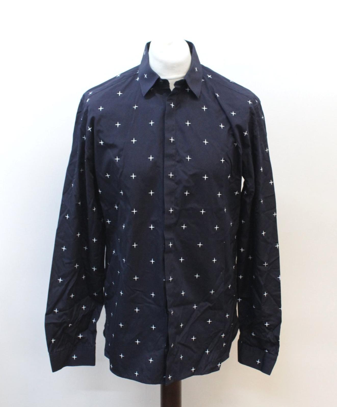 Neil-Barrett-Hombre-Azul-Marino-Blanco-Cuello-De-Camisa-formal-calce-Cruz-16-5-034-42cm miniatura 2