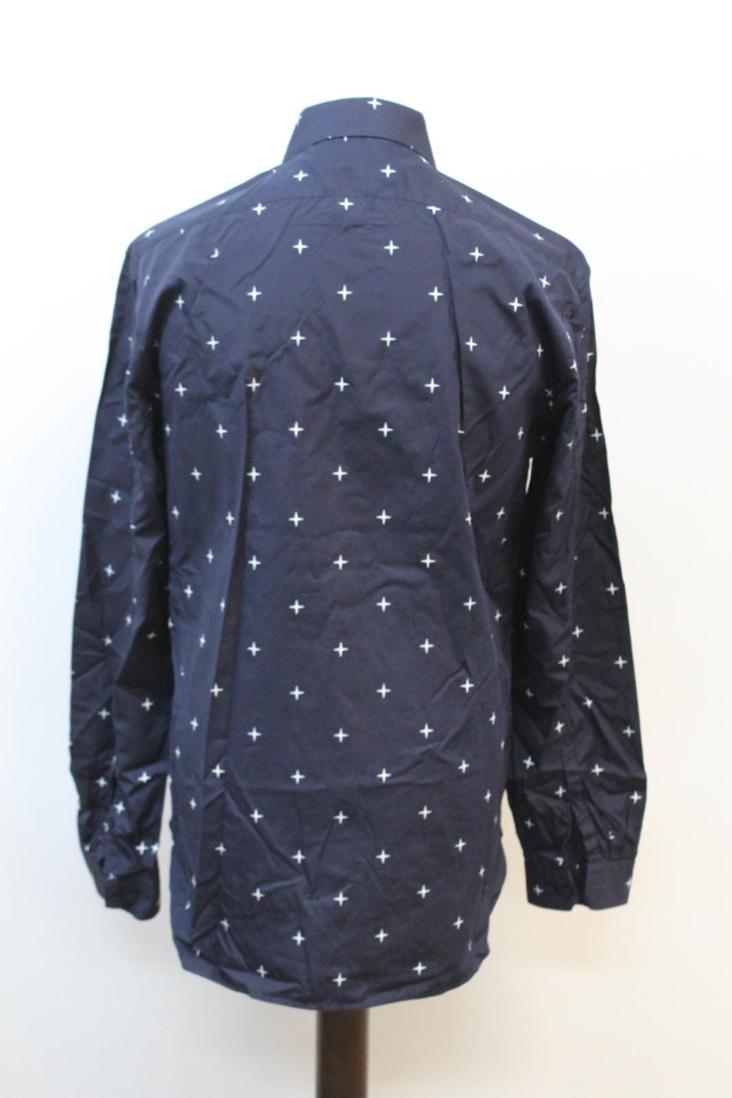 Neil-Barrett-Hombre-Azul-Marino-Blanco-Cuello-De-Camisa-formal-calce-Cruz-16-5-034-42cm miniatura 5