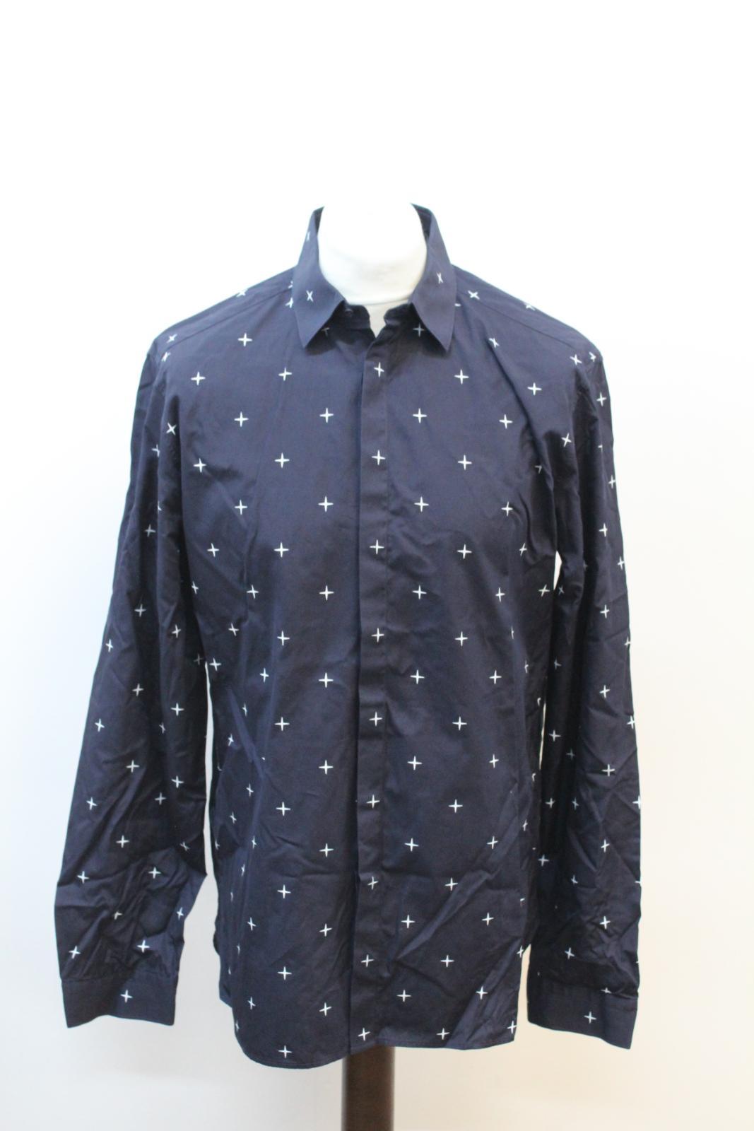 Neil-Barrett-Hombre-Azul-Marino-Blanco-Cuello-De-Camisa-formal-calce-Cruz-16-5-034-42cm miniatura 7