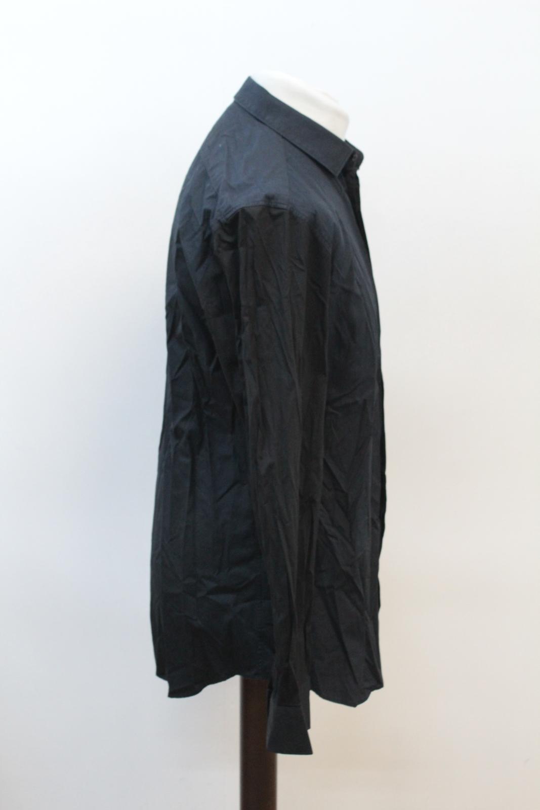 Neil-Barrett-Hombre-Azul-Manga-Negra-Cuello-Camisa-de-impresion-Corbata-Slim-Fit-16-5-034-42cm miniatura 4