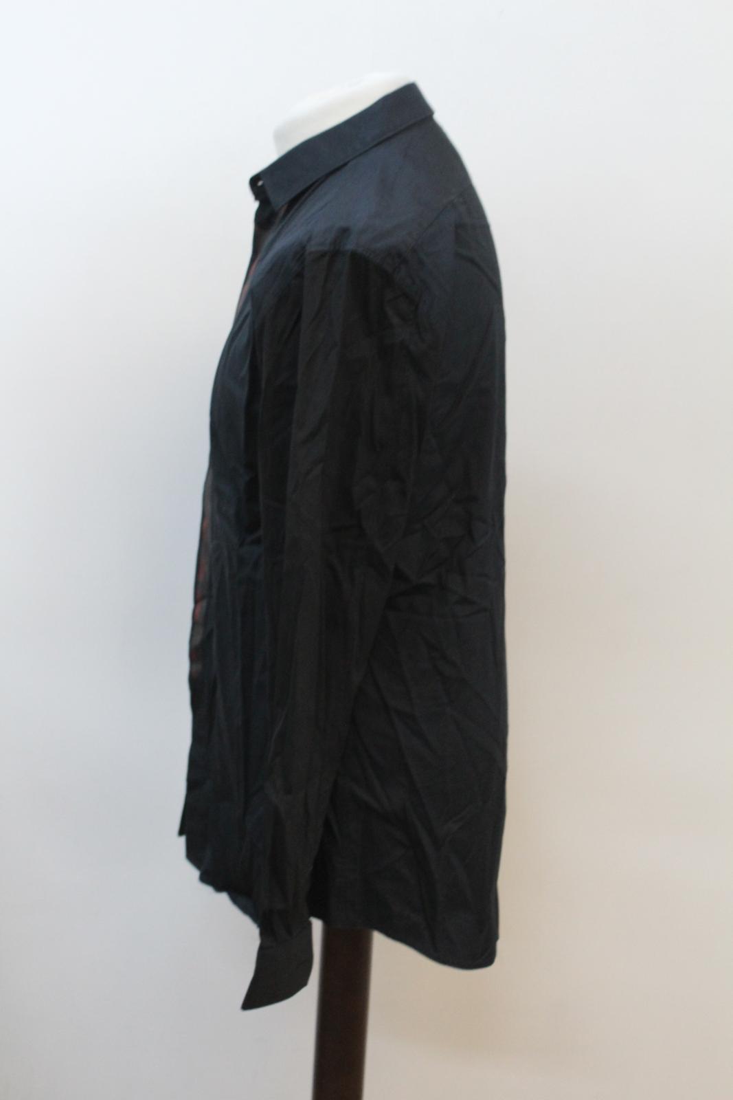 Neil-Barrett-Hombre-Azul-Manga-Negra-Cuello-Camisa-de-impresion-Corbata-Slim-Fit-16-5-034-42cm miniatura 6