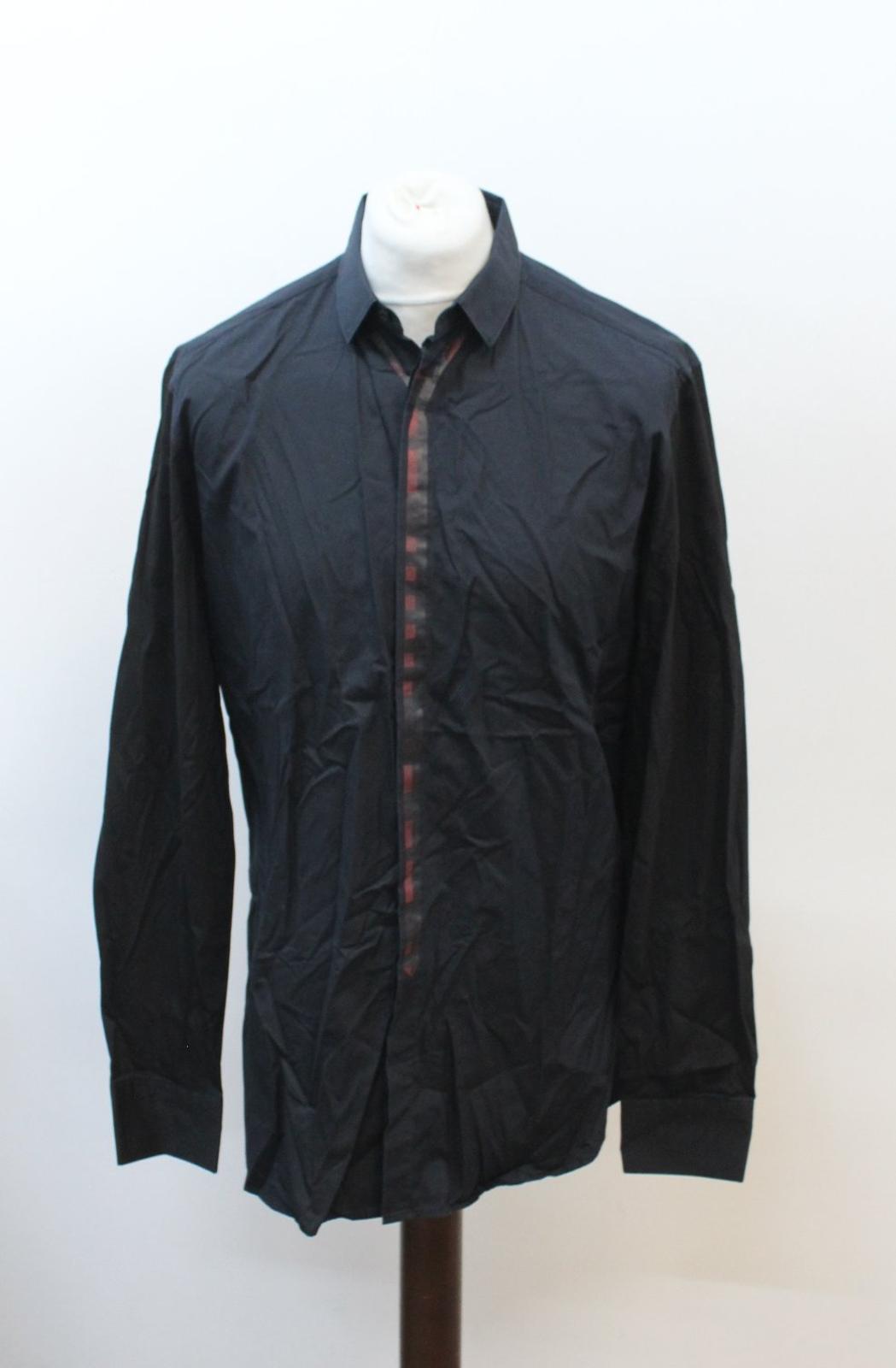 Neil-Barrett-Hombre-Azul-Manga-Negra-Cuello-Camisa-de-impresion-Corbata-Slim-Fit-16-5-034-42cm miniatura 7