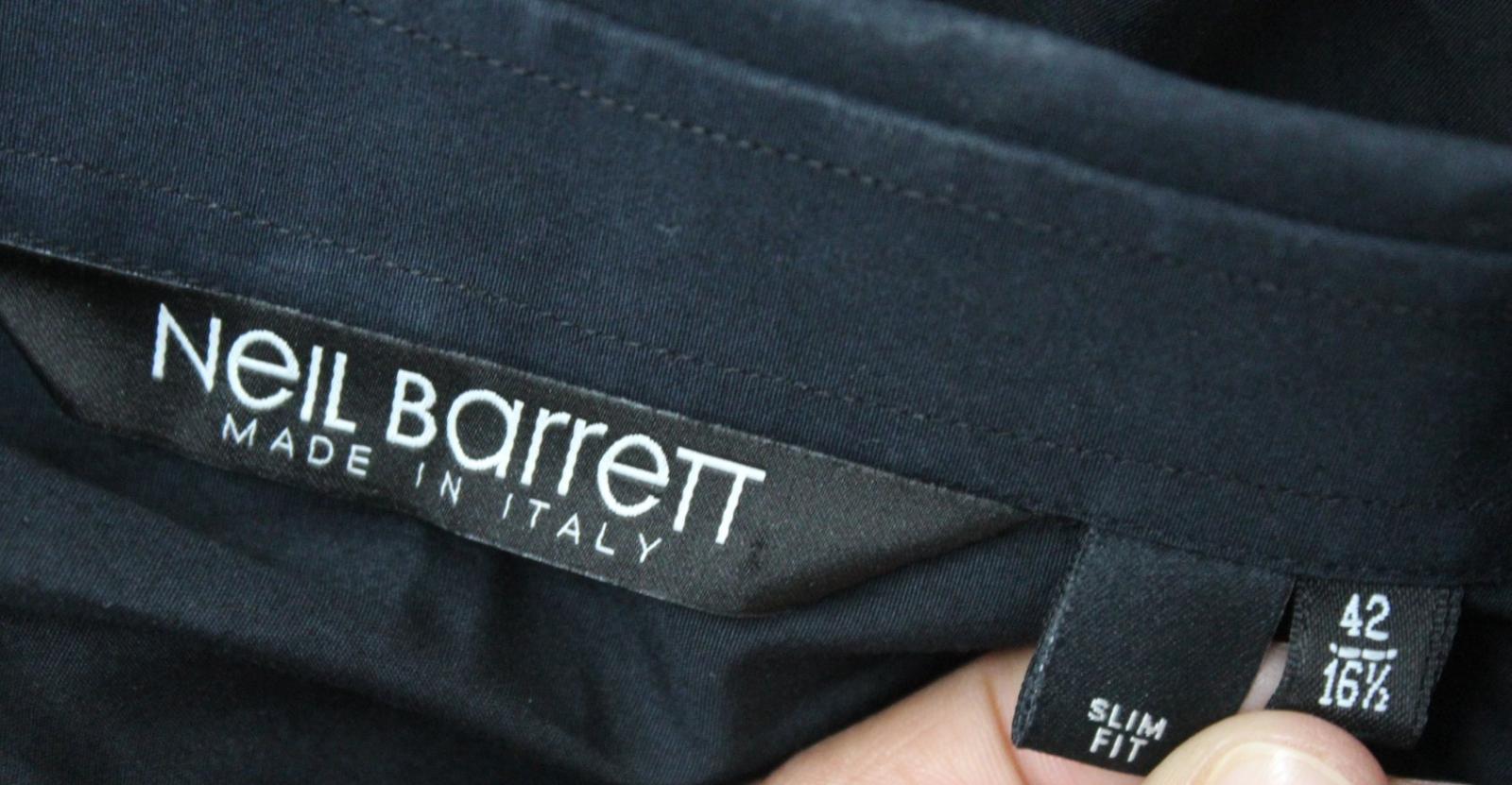 Neil-Barrett-Hombre-Azul-Manga-Negra-Cuello-Camisa-de-impresion-Corbata-Slim-Fit-16-5-034-42cm miniatura 8