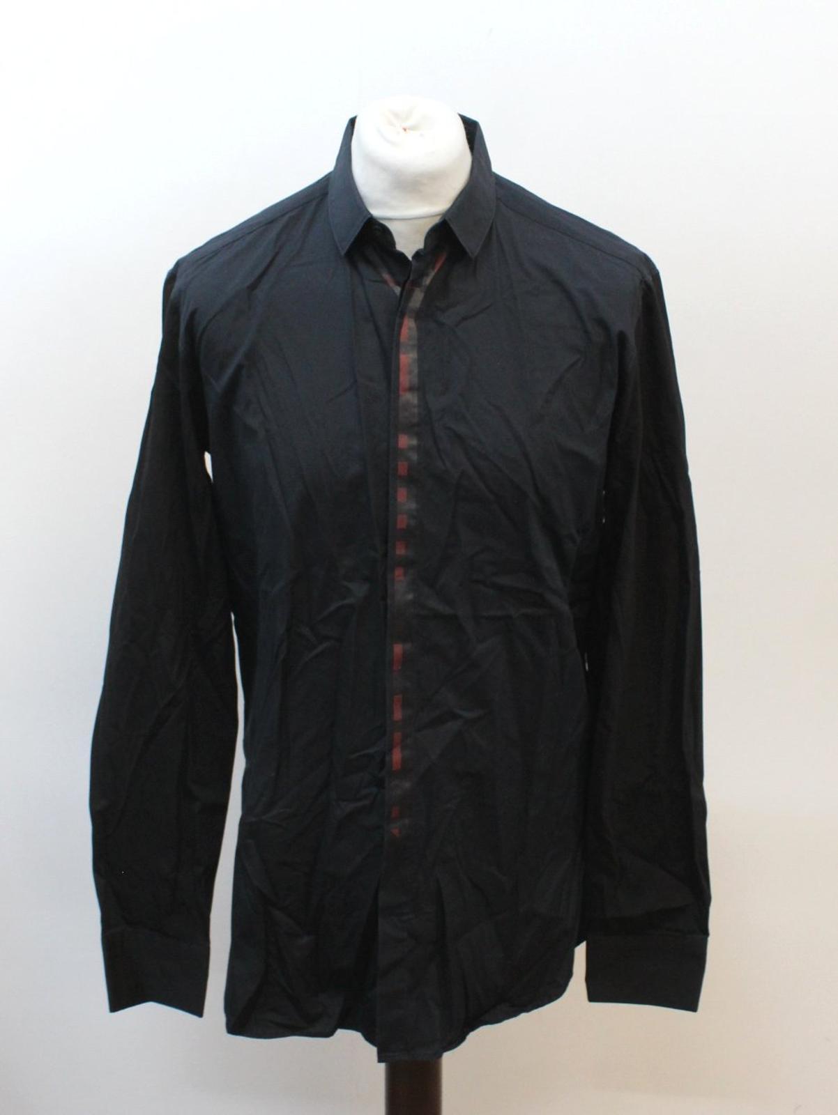 Neil-Barrett-Hombre-Azul-Manga-Negra-Cuello-Camisa-de-impresion-Corbata-Slim-Fit-16-5-034-42cm miniatura 10