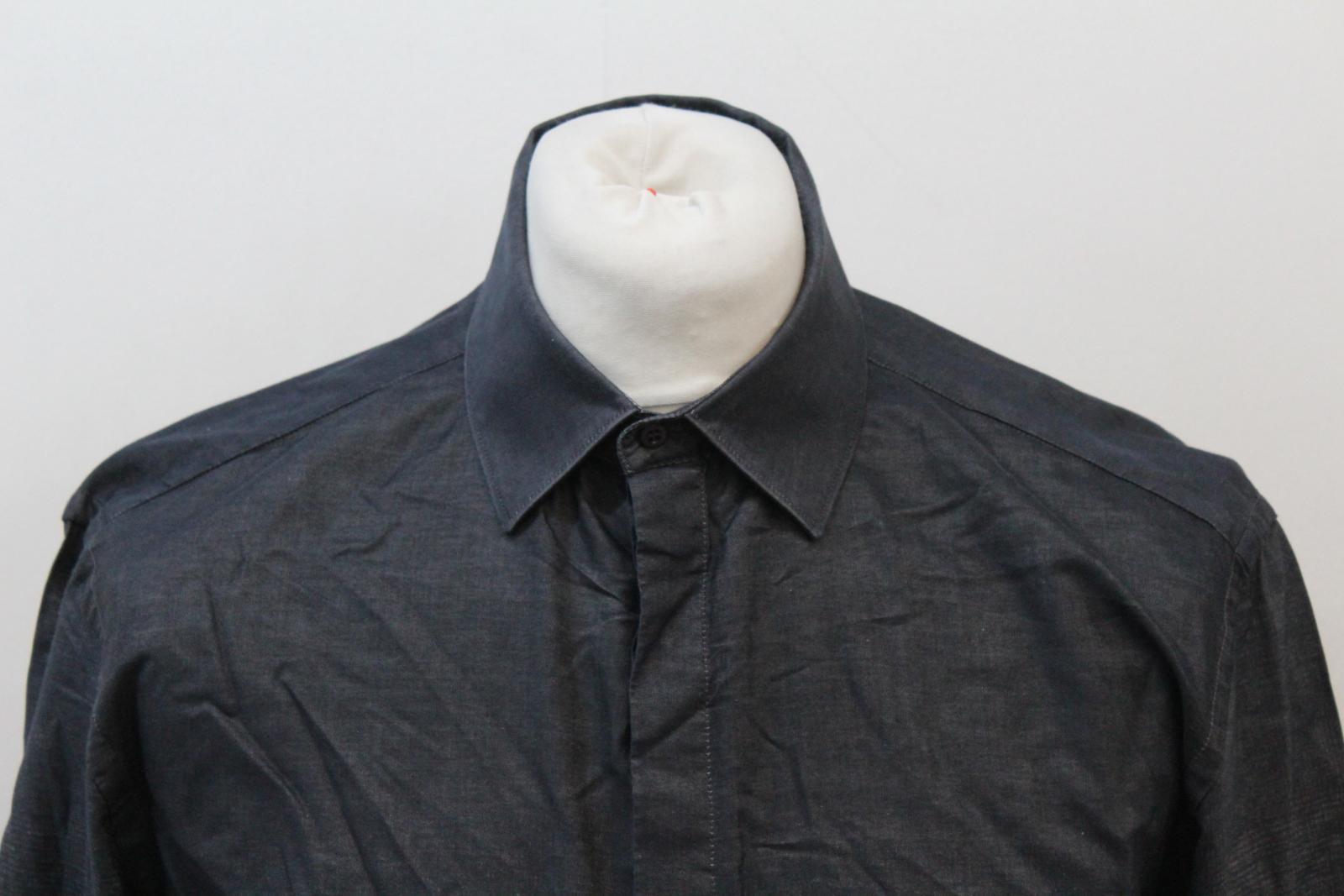 Neil-Barrett-Hombre-Luz-Gris-Oscuro-Algodon-Slim-Fit-Camisa-Cuello-Ombre-16-5-034-42cm miniatura 3