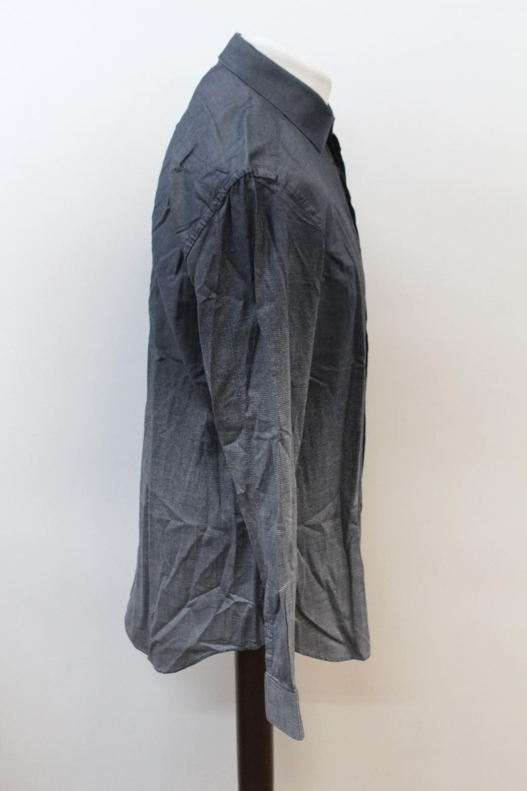 Neil-Barrett-Hombre-Luz-Gris-Oscuro-Algodon-Slim-Fit-Camisa-Cuello-Ombre-16-5-034-42cm miniatura 4