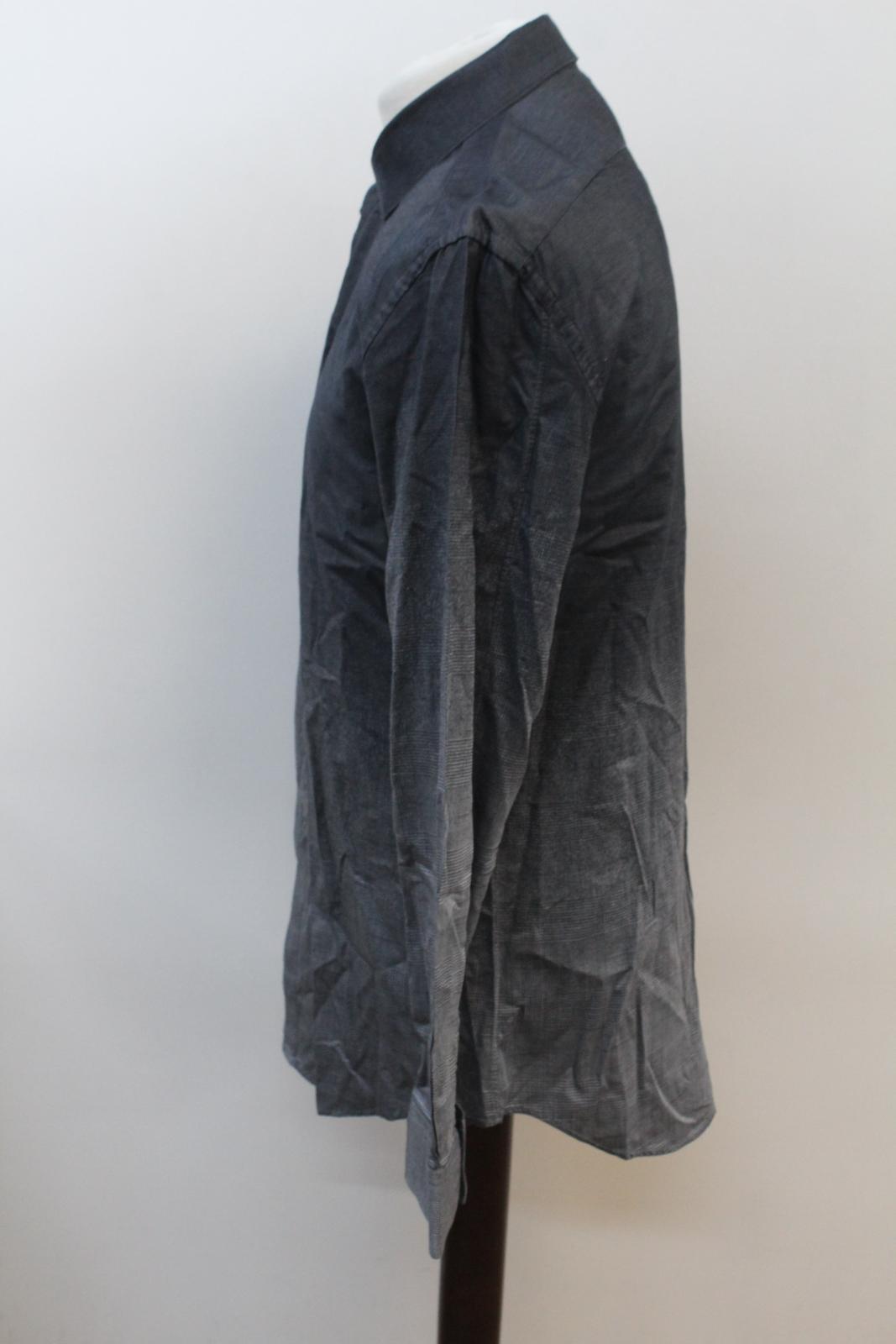 Neil-Barrett-Hombre-Luz-Gris-Oscuro-Algodon-Slim-Fit-Camisa-Cuello-Ombre-16-5-034-42cm miniatura 6