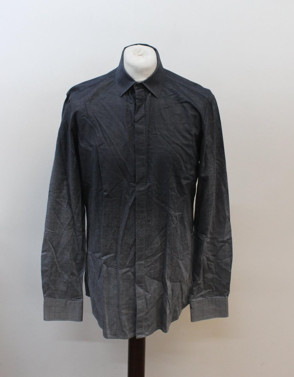 Neil-Barrett-Hombre-Luz-Gris-Oscuro-Algodon-Slim-Fit-Camisa-Cuello-Ombre-16-5-034-42cm miniatura 7