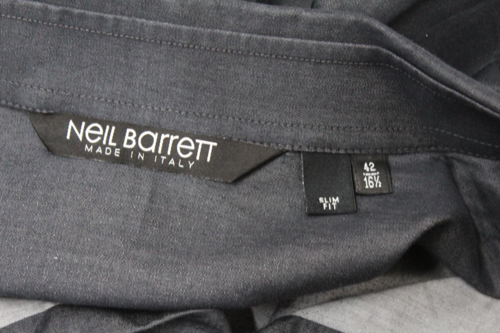 Neil-Barrett-Hombre-Luz-Gris-Oscuro-Algodon-Slim-Fit-Camisa-Cuello-Ombre-16-5-034-42cm miniatura 8