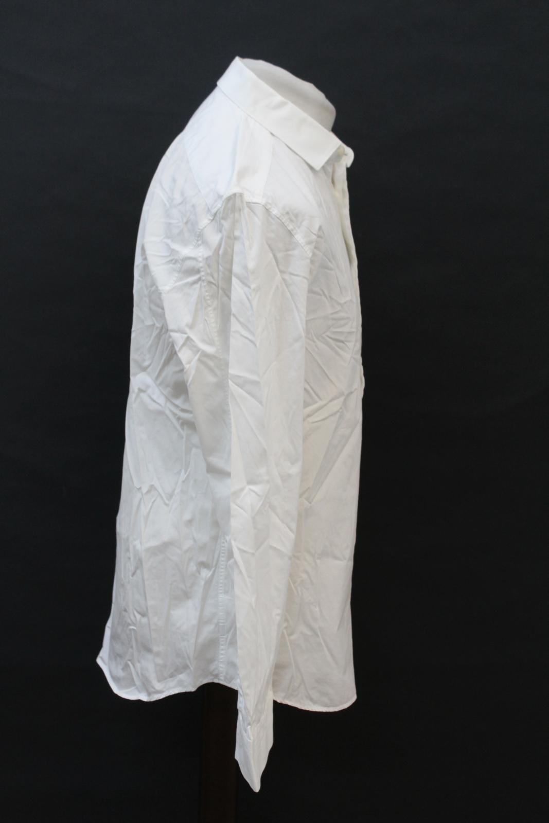 Neil-Barrett-para-hombre-calce-cenido-de-algodon-Blanco-Detalle-De-Cremallera-Botones-Camisa-Cuello miniatura 4