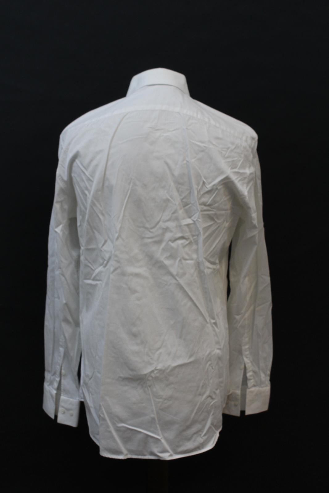 Neil-Barrett-para-hombre-calce-cenido-de-algodon-Blanco-Detalle-De-Cremallera-Botones-Camisa-Cuello miniatura 5