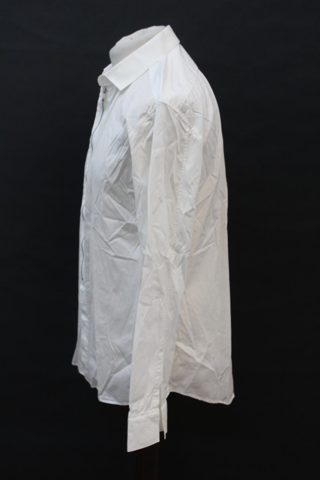 Neil-Barrett-para-hombre-calce-cenido-de-algodon-Blanco-Detalle-De-Cremallera-Botones-Camisa-Cuello miniatura 6