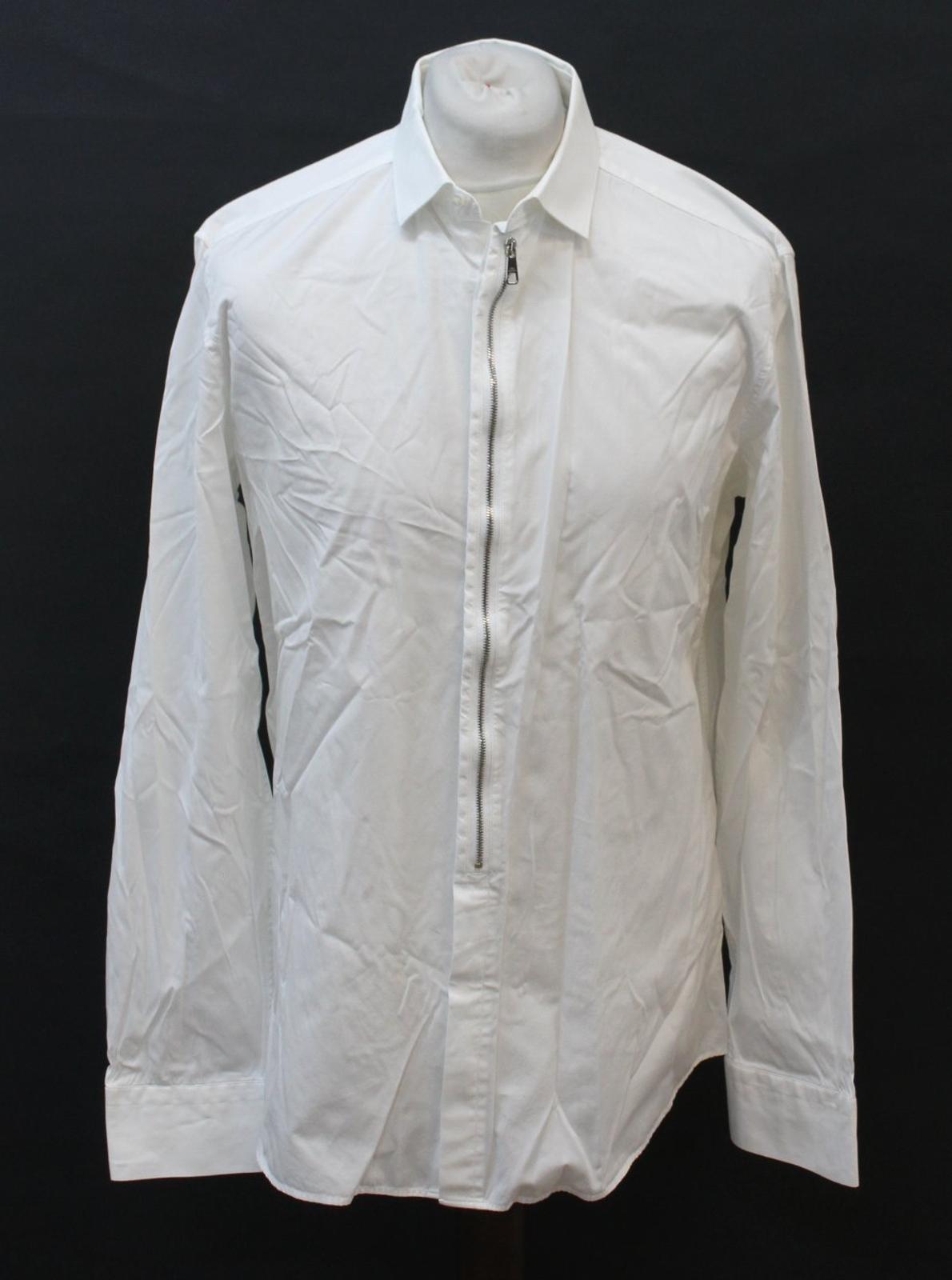 Neil-Barrett-para-hombre-calce-cenido-de-algodon-Blanco-Detalle-De-Cremallera-Botones-Camisa-Cuello miniatura 10