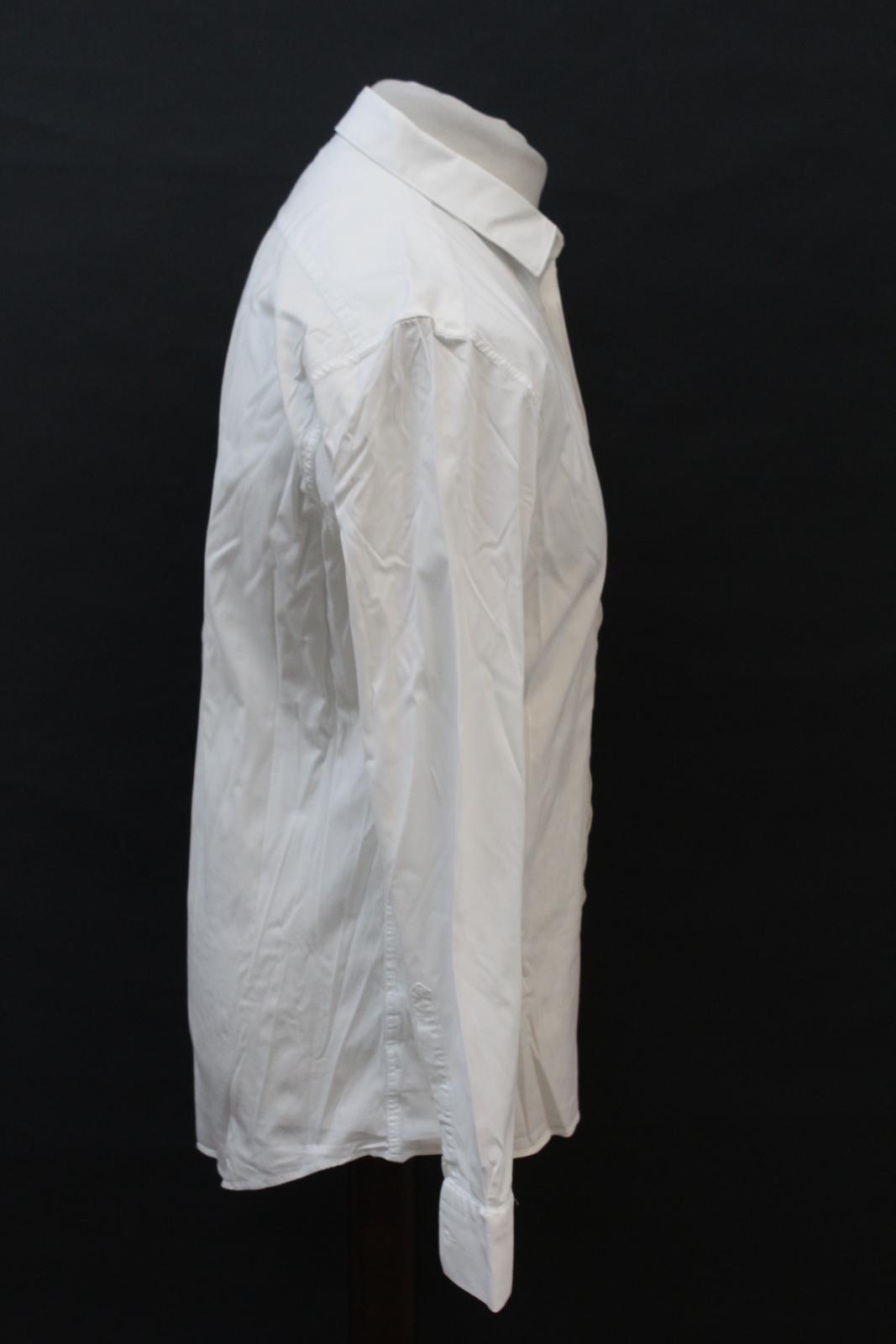 NEIL-BARRETT-Men-039-s-White-Cotton-Blend-Slim-Fit-Formal-Shirt-Collar-16-5-034-42cm miniatura 4