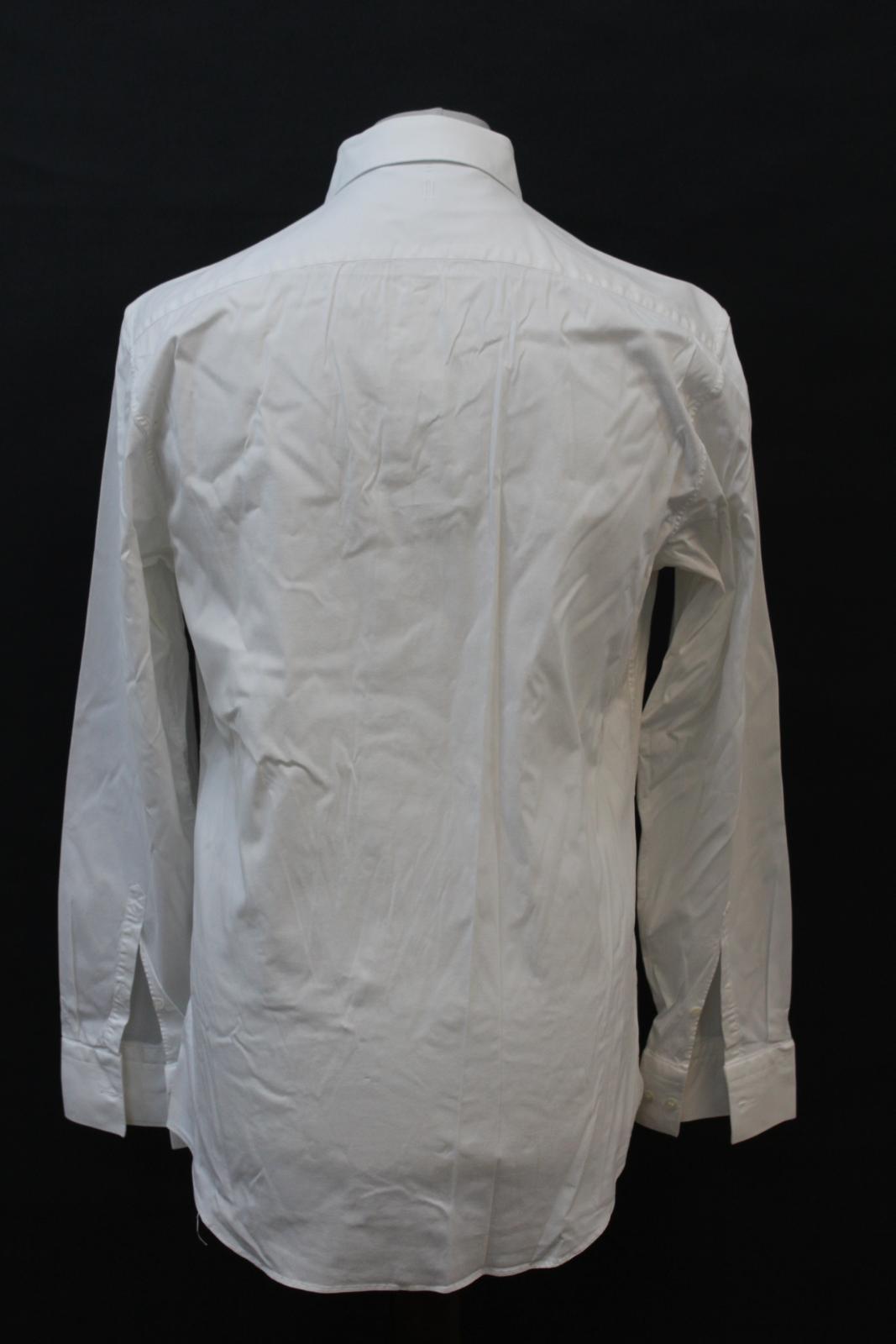 NEIL-BARRETT-Men-039-s-White-Cotton-Blend-Slim-Fit-Formal-Shirt-Collar-16-5-034-42cm miniatura 5