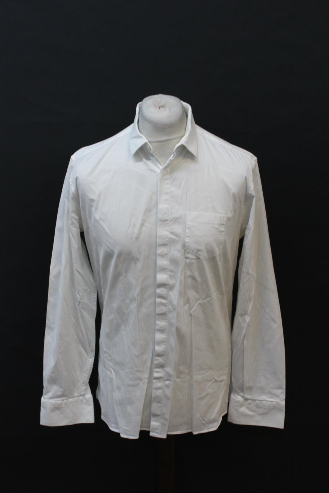 NEIL-BARRETT-Men-039-s-White-Cotton-Blend-Slim-Fit-Formal-Shirt-Collar-16-5-034-42cm miniatura 11