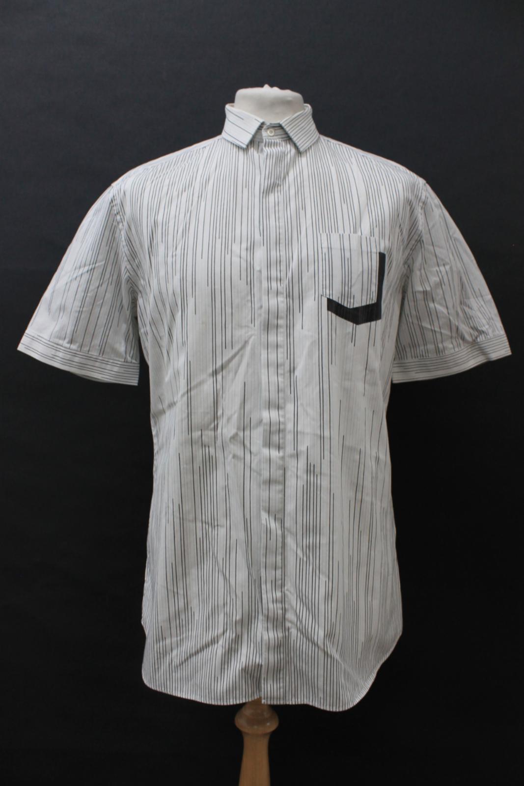 Neil-Barrett-Hombre-Blanco-Algodon-De-Rayas-Camisa-De-Manga-Corta-Estampado-de-bolsillo-16-5-034 miniatura 2