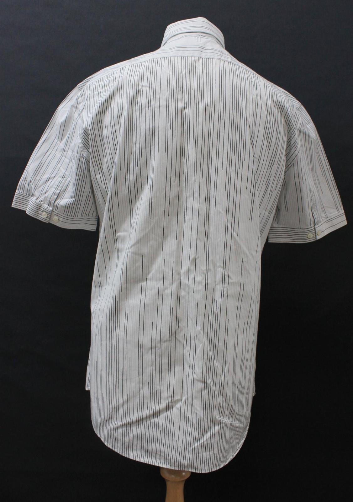 Neil-Barrett-Hombre-Blanco-Algodon-De-Rayas-Camisa-De-Manga-Corta-Estampado-de-bolsillo-16-5-034 miniatura 6