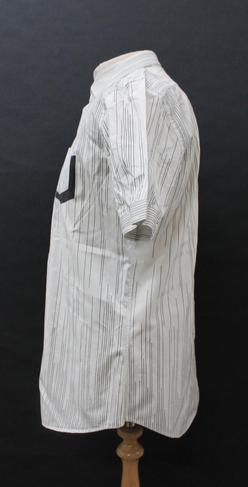 Neil-Barrett-Hombre-Blanco-Algodon-De-Rayas-Camisa-De-Manga-Corta-Estampado-de-bolsillo-16-5-034 miniatura 7
