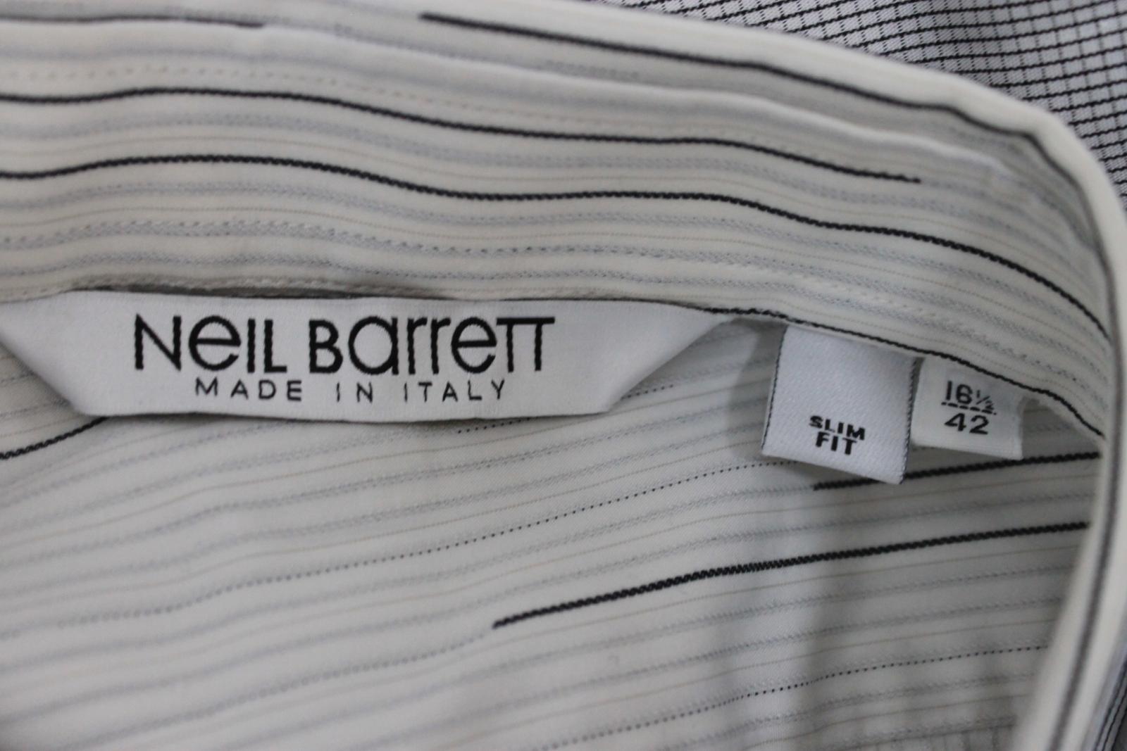 Neil-Barrett-Hombre-Blanco-Algodon-De-Rayas-Camisa-De-Manga-Corta-Estampado-de-bolsillo-16-5-034 miniatura 10