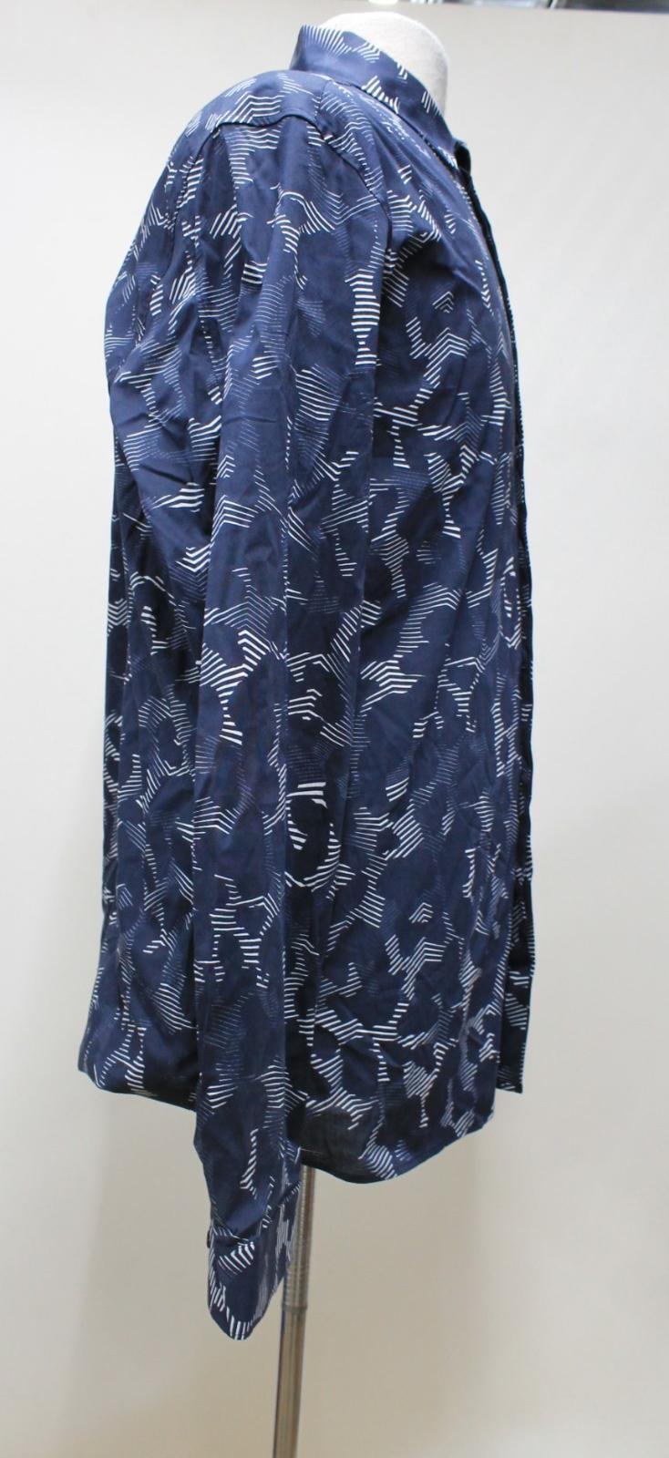 Neil-Barrett-Para-Hombre-Calce-Cenido-Estampado-Abstracto-Algodon-Azul-Con-Cuello-Camisa-16-5-034 miniatura 4