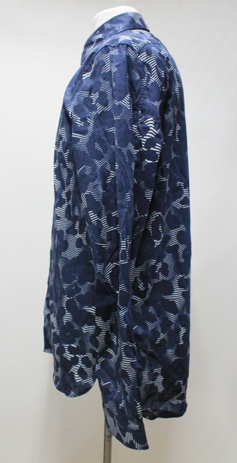Neil-Barrett-Para-Hombre-Calce-Cenido-Estampado-Abstracto-Algodon-Azul-Con-Cuello-Camisa-16-5-034 miniatura 6
