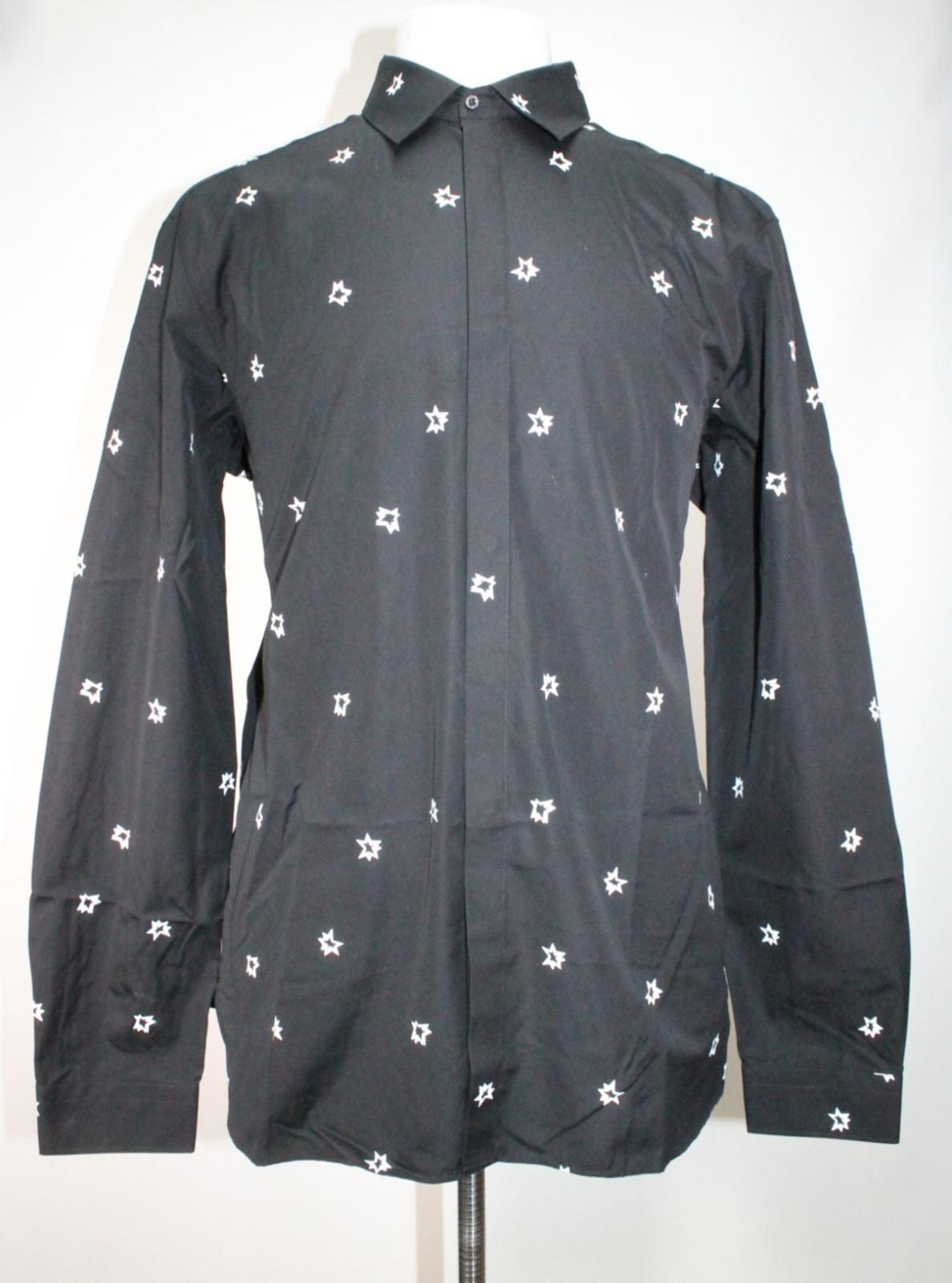 Neil-Barrett-Hombre-Negro-Algodon-Estampado-de-Estrellas-Calce-Ajustado-Camisa-Con-Cuello-16-5-034 miniatura 2