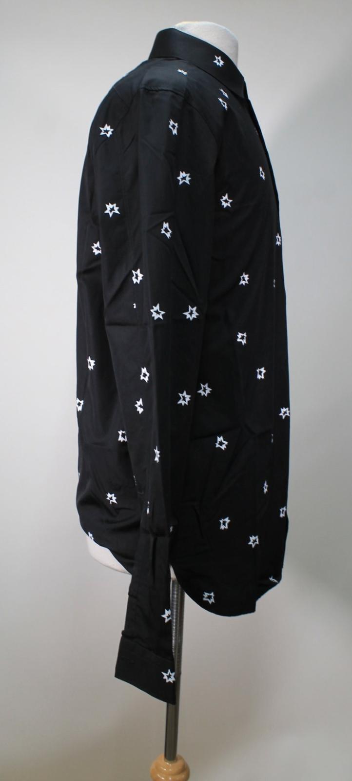Neil-Barrett-Hombre-Negro-Algodon-Estampado-de-Estrellas-Calce-Ajustado-Camisa-Con-Cuello-16-5-034 miniatura 4