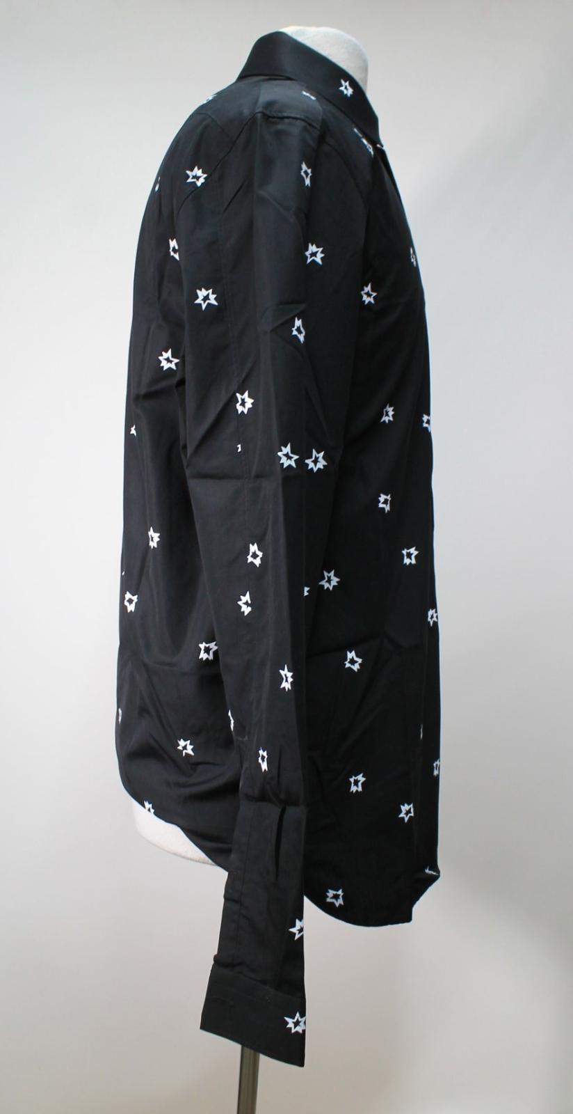 Neil-Barrett-Hombre-Negro-Algodon-Estampado-de-Estrellas-Calce-Ajustado-Camisa-Con-Cuello-16-5-034 miniatura 5