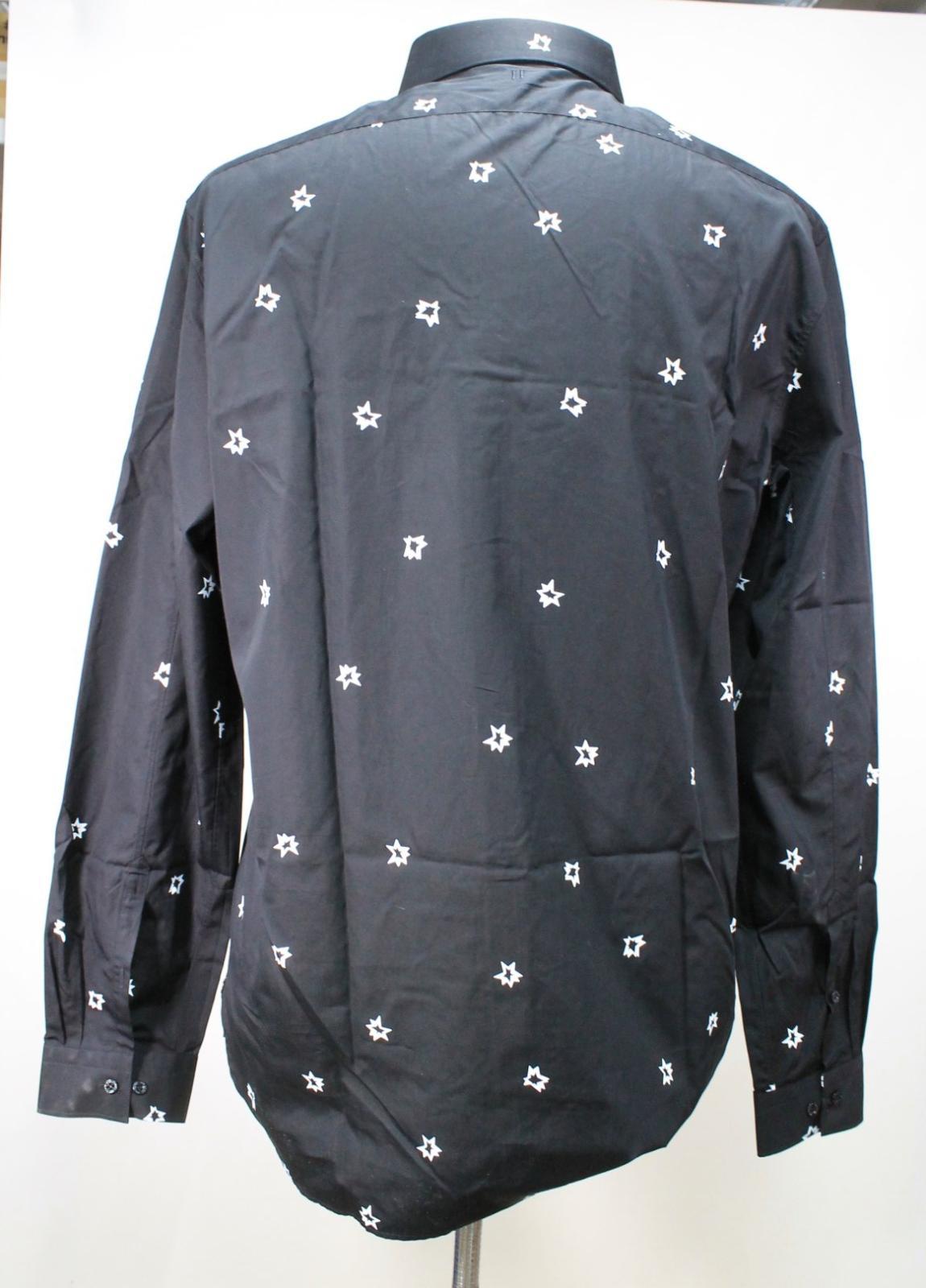Neil-Barrett-Hombre-Negro-Algodon-Estampado-de-Estrellas-Calce-Ajustado-Camisa-Con-Cuello-16-5-034 miniatura 6