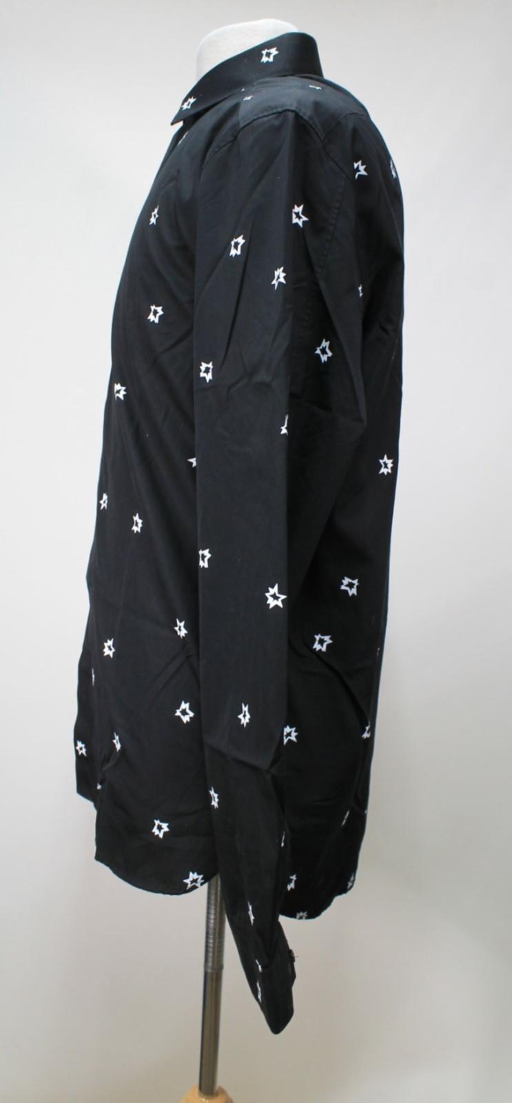 Neil-Barrett-Hombre-Negro-Algodon-Estampado-de-Estrellas-Calce-Ajustado-Camisa-Con-Cuello-16-5-034 miniatura 7