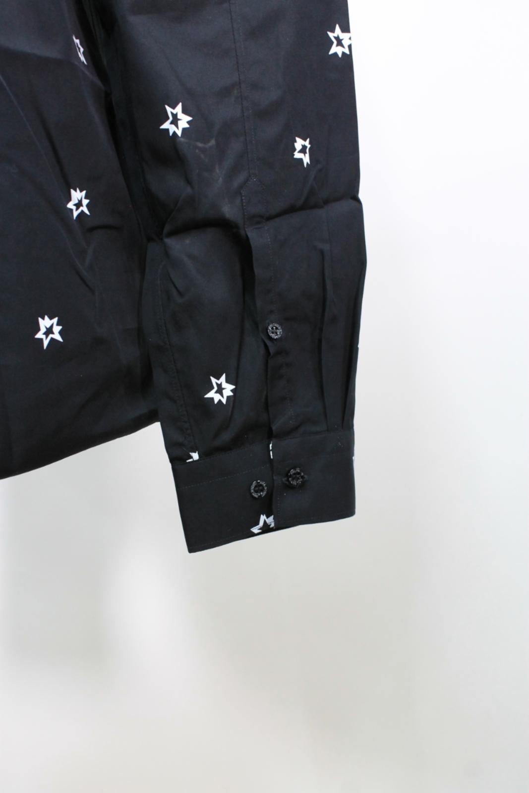 Neil-Barrett-Hombre-Negro-Algodon-Estampado-de-Estrellas-Calce-Ajustado-Camisa-Con-Cuello-16-5-034 miniatura 9