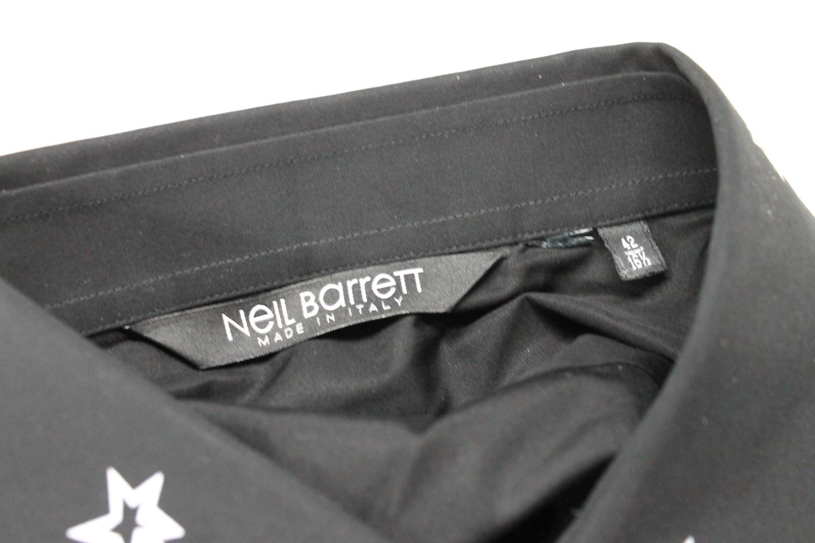Neil-Barrett-Hombre-Negro-Algodon-Estampado-de-Estrellas-Calce-Ajustado-Camisa-Con-Cuello-16-5-034 miniatura 10