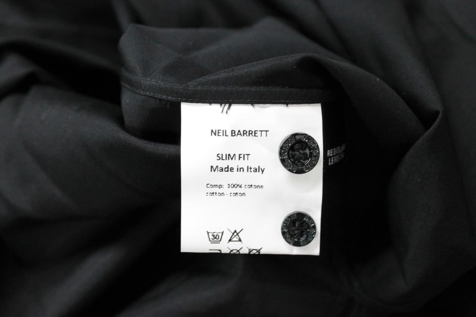 Neil-Barrett-Hombre-Negro-Algodon-Estampado-de-Estrellas-Calce-Ajustado-Camisa-Con-Cuello-16-5-034 miniatura 11