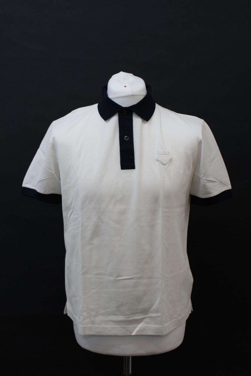PRADA-Uomo-Avorio-Blu-Navy-Cotone-Maniche-Corte-Con-Colletto-Collo-Polo-XL miniatura 2