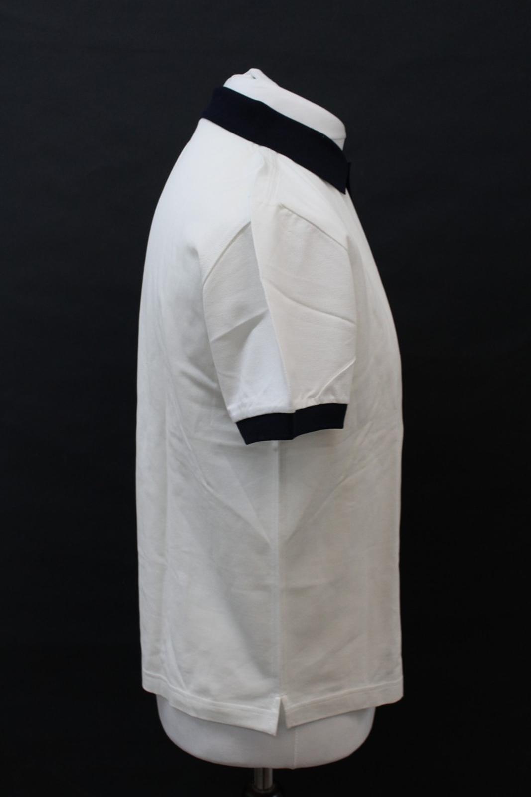 PRADA-Uomo-Avorio-Blu-Navy-Cotone-Maniche-Corte-Con-Colletto-Collo-Polo-XL miniatura 4