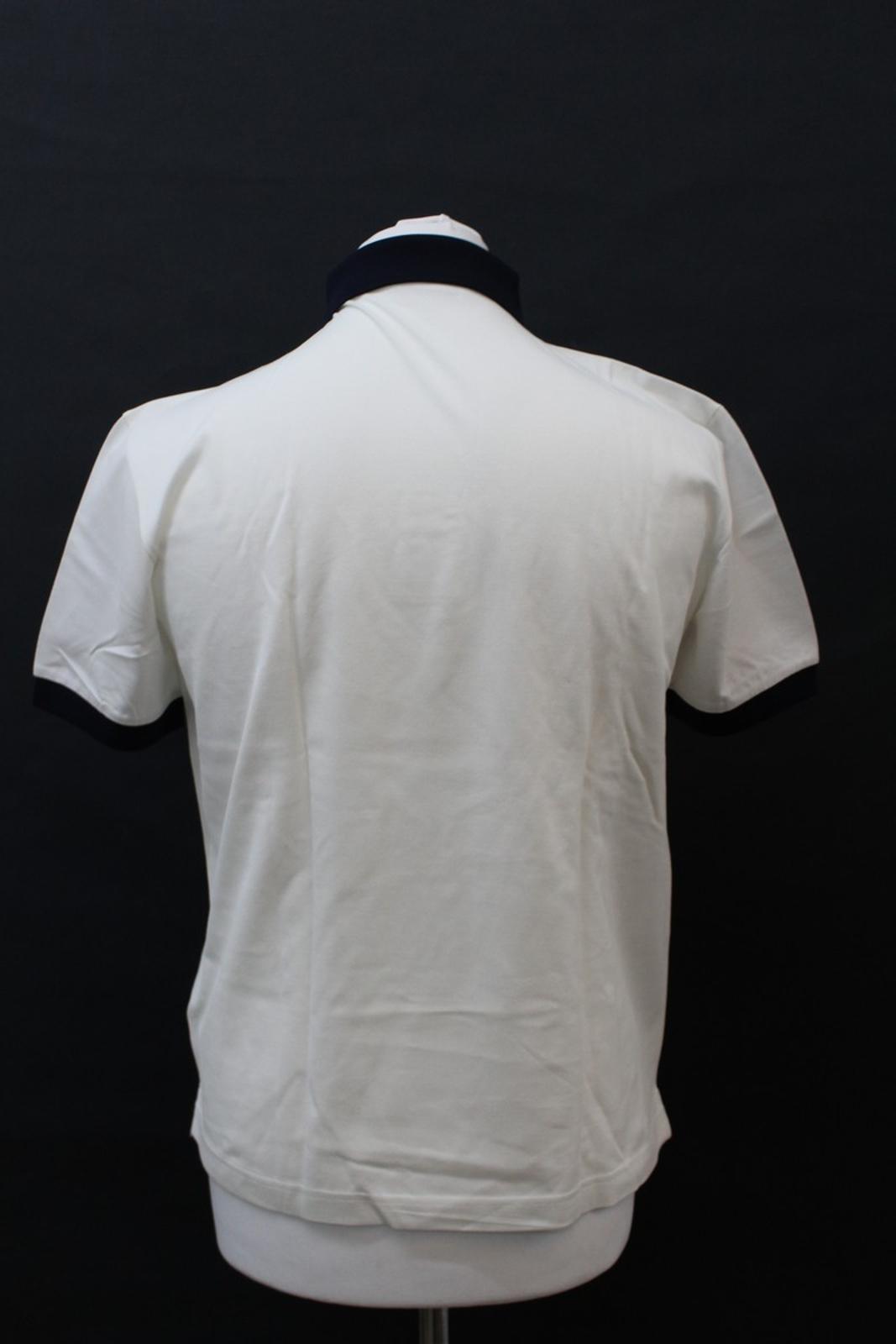 PRADA-Uomo-Avorio-Blu-Navy-Cotone-Maniche-Corte-Con-Colletto-Collo-Polo-XL miniatura 5