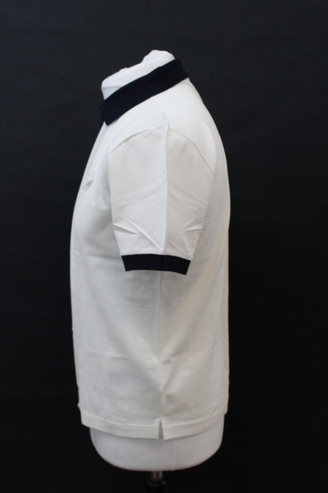 PRADA-Uomo-Avorio-Blu-Navy-Cotone-Maniche-Corte-Con-Colletto-Collo-Polo-XL miniatura 6