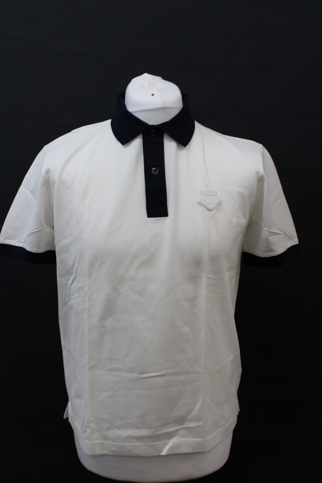 PRADA-Uomo-Avorio-Blu-Navy-Cotone-Maniche-Corte-Con-Colletto-Collo-Polo-XL miniatura 7