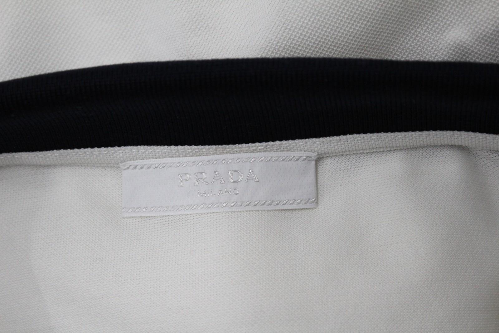 PRADA-Uomo-Avorio-Blu-Navy-Cotone-Maniche-Corte-Con-Colletto-Collo-Polo-XL miniatura 8