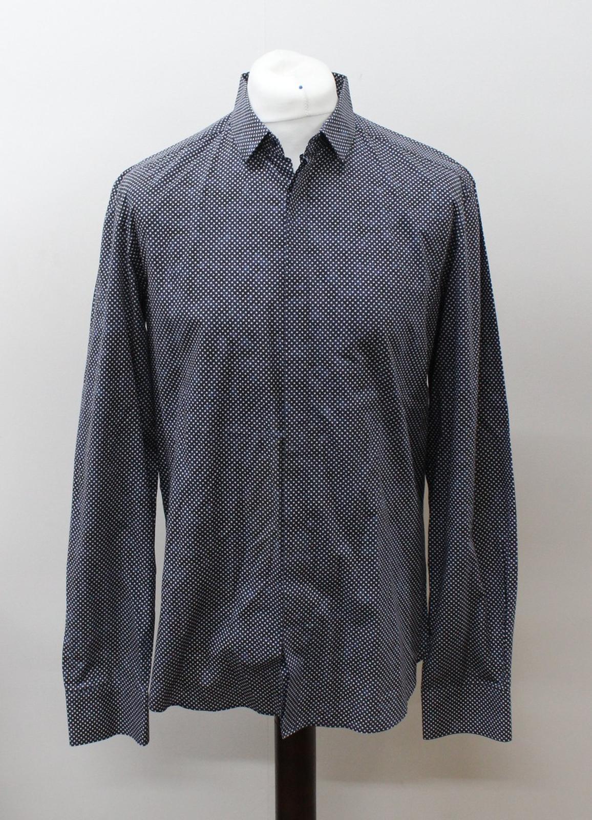 Neil-Barrett-Hombre-Azul-Negro-Algodon-Estampado-de-Estrellas-Formal-Camisa-Cuello-16-5-034-42cm miniatura 2