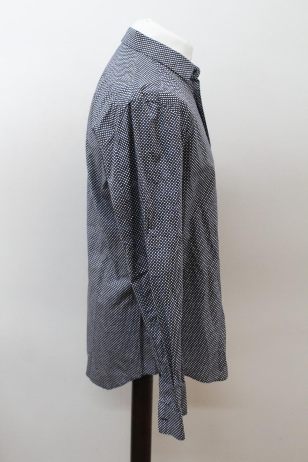 Neil-Barrett-Hombre-Azul-Negro-Algodon-Estampado-de-Estrellas-Formal-Camisa-Cuello-16-5-034-42cm miniatura 4