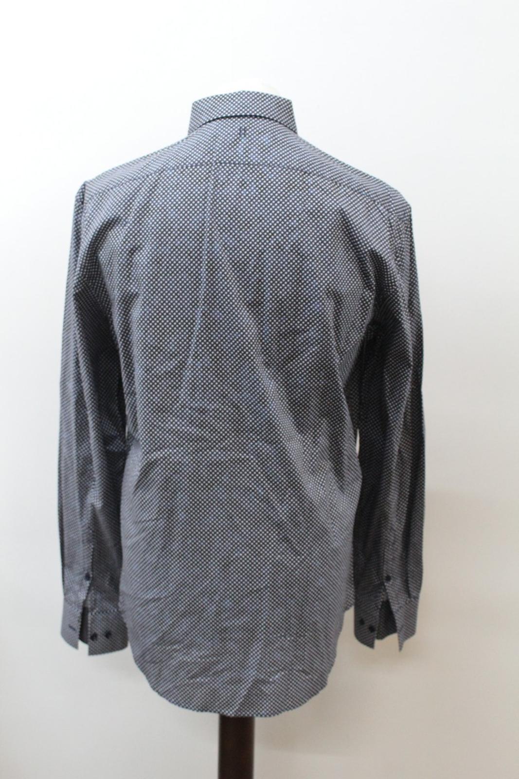 Neil-Barrett-Hombre-Azul-Negro-Algodon-Estampado-de-Estrellas-Formal-Camisa-Cuello-16-5-034-42cm miniatura 5