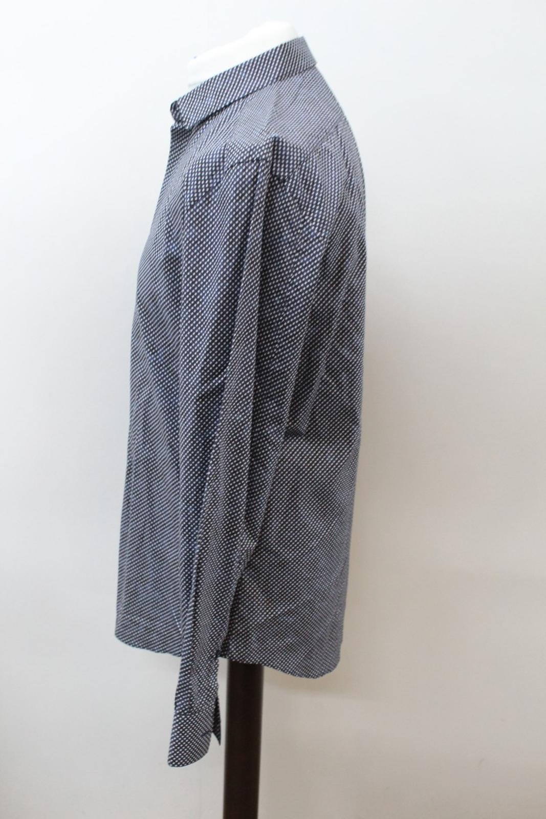 Neil-Barrett-Hombre-Azul-Negro-Algodon-Estampado-de-Estrellas-Formal-Camisa-Cuello-16-5-034-42cm miniatura 6