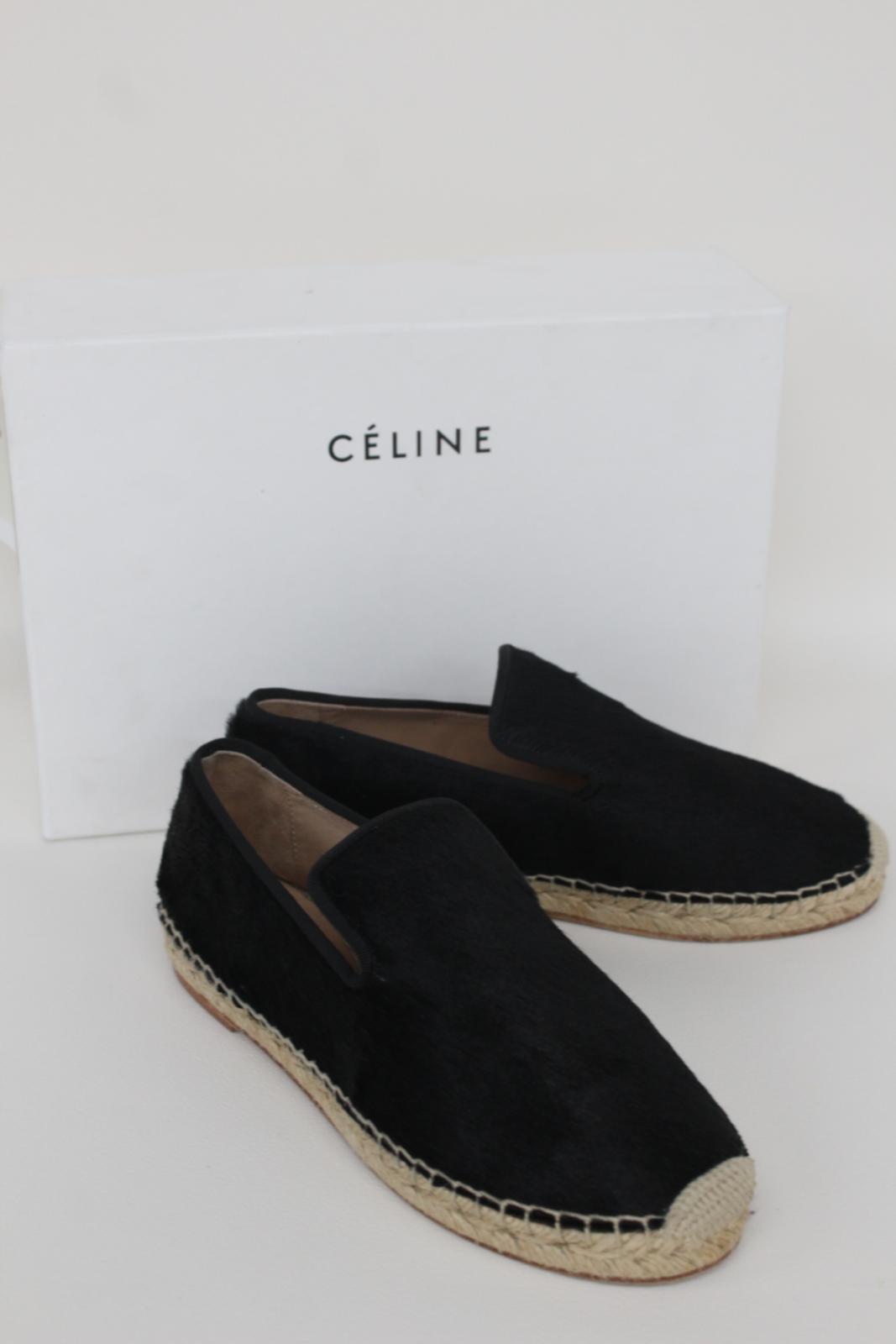 CELINE-Stacy-Black-Pony-Hair-Ladies-Flat-Espadrilles-Shoes-UK3-EU36-5-BNIB thumbnail 3