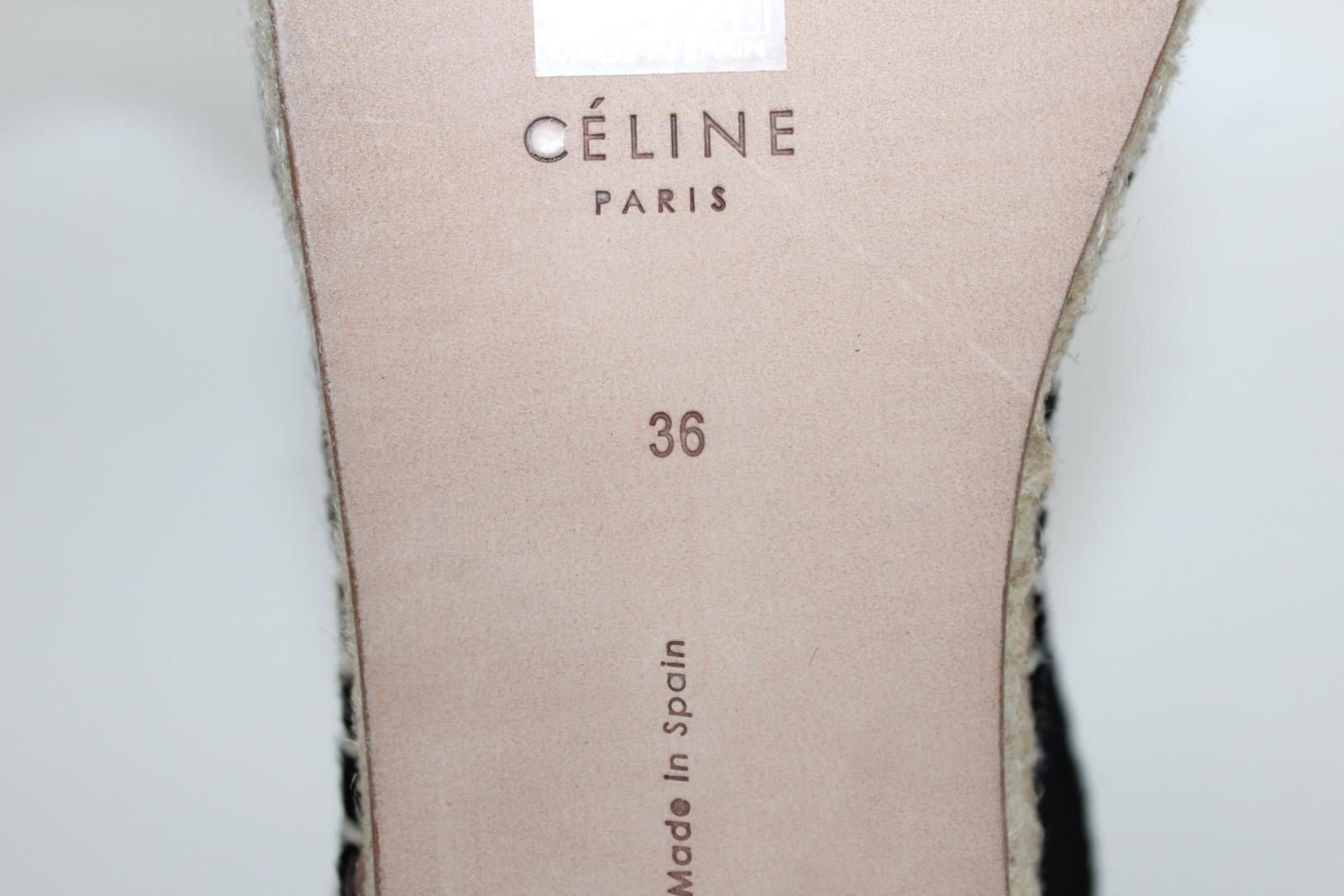 CELINE-Stacy-Black-Pony-Hair-Ladies-Flat-Espadrilles-Shoes-UK3-EU36-5-BNIB thumbnail 9