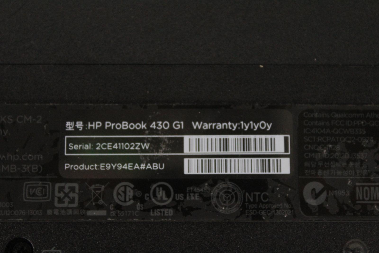 HP-ProBook-430-G1-IntelCore-i5-13-034-affichage-4-Go-RAM-Sans-Disque-Dur-Noir-Ordinateur-Portable miniature 10